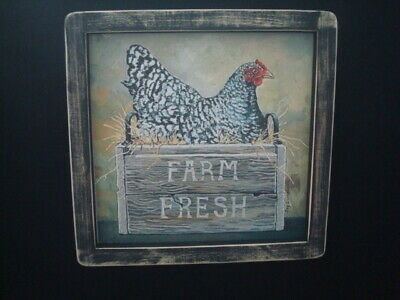 "Primitive Country Print *FARM FRESH CHICKEN IN BOX* black frame 8"" x 12"""