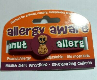 AllerMates PEANUT Allergy Wristband Alert Medical ID Silicone Bracelet  NEW