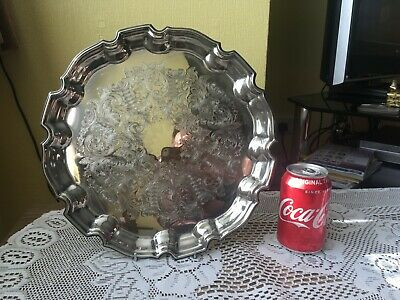Lovely Victorian Yeoman Silver Plate Salver 12 Inches