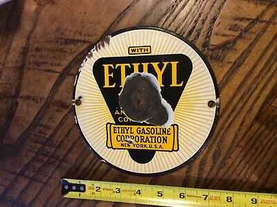 Old Vintage With Ethyl Gasoline Porcelain Enamel Gas Pump Door Sign