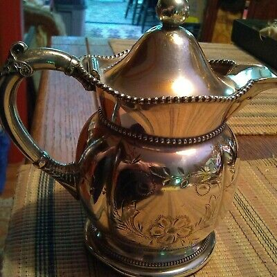 vintage Victorian silverplated syrup pitcher ca 1900