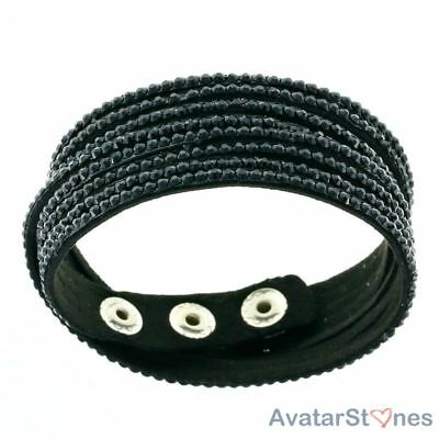 Women's Girl's Hot Black Faux Leather Snap Bracelet Wristband BL5V4A
