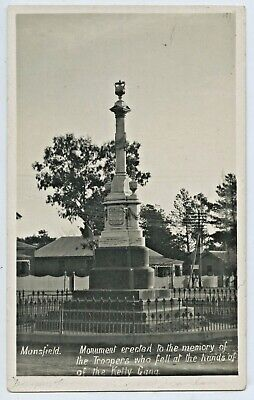 C1910 Rp Npu Postcard Monument Troopers Killed By Kelly Gang Mansfield Vict F42.