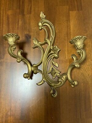 """Wall Sconce Burwood Gold Ornate Syroco Homco 1970s Dual Arm Candle Holder 16"""""""