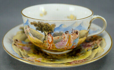 Capodimonte Style Late 19th Century European Hand Painted Tea Cup & Saucer