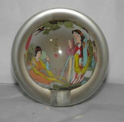 Vintage CHINESE REVERSE PAINTED & ARTIST SIGNED Glass SPHERE PAPERWEIGHT Geisha
