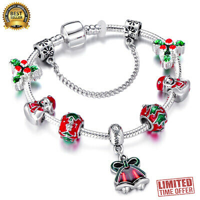 Authentic Pandora Bracelet Silver With HOLIDAY, CHRISTMAS With European Charms
