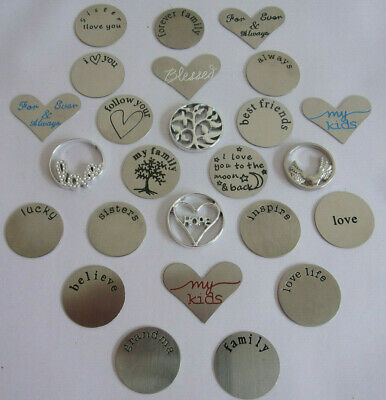 Job Lot / Wholesale Floating Charms Stainless Steel 25 Designs Words Family Tree