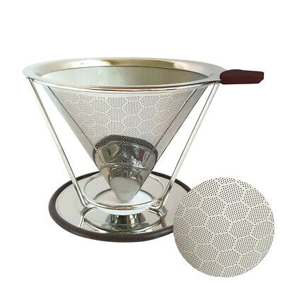 Stainless Steel Pour Over Cone Dripper Reusable Coffee Filter w/ Cup Stand