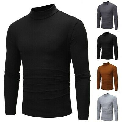 Men's Long Sleeve Solid Plus Size Tops Shirt Slim Fit Turtle Neck Casual Tops