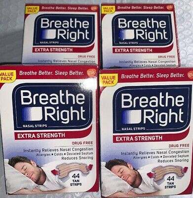 (4)Boxes BREATHE RIGHT Nasal Strips EXTRA STRENGTH 44 ea Tan Strips TOTAL 176