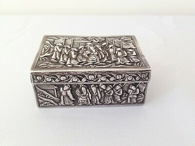 Antique Sterling Silver Snuff Box Handmade China 1800's Old 19th Gift Rare 99.6g