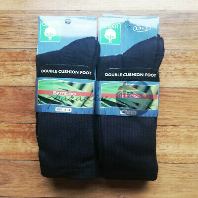 3 Pairs 90% BAMBOO SOCKS DOUBLE CUSHION Men's Heavy Duty Premium Work BLACK 6-11