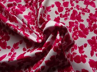 """Stretch Cotton Dress Fabric in Red White Abstract Leaf Design 36"""" Lx 58"""" W"""
