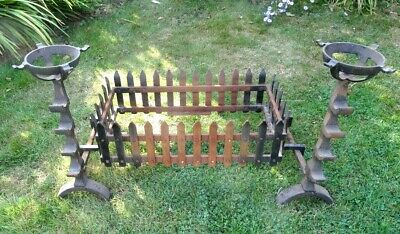 Blacksmith forged custom made Fire Basket with a Pair of Andirons