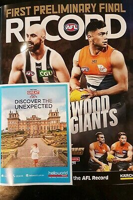2019 Footy RECORD First Preliminary Final Collingwood vs GWS MCG