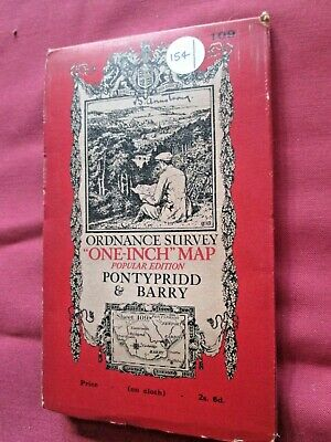Ordnance Survey Contoured map No 109 Pontypridd & Barry  1937 - VGC