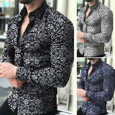 Mens Formal Casual Long Sleeve Shirt Business Slim Fit Shirt Printed Tops Plus