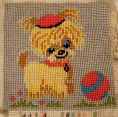 Handmade Embroidered Puppy Cross Stitched Tapestry FInished Wall Decoration