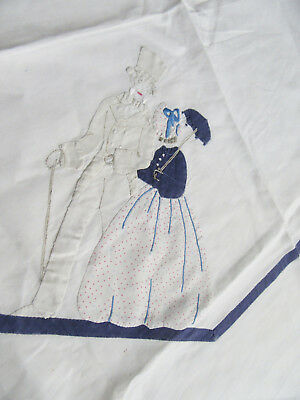 Small Tablecloth w Applique Victorian Lady & Gentleman Embroidered