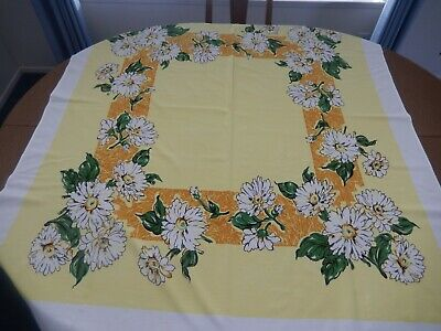 """VINTAGE APPROX. 46"""" x 52"""" COLORFUL YELLOW, WHITE, GOLD & GREEN FLORAL TABLECLOTH"""