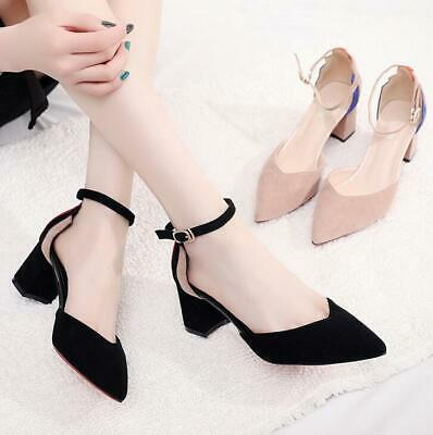 Fashion Women Ankle Strap Sandals Block Low Heel Pointed Toe Shoes Party Evening