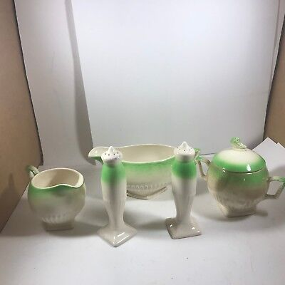 Vintage Porcelain Dinner Set - Sugar, Creamer, Gravy Boat, Salt/Pepper Shakers