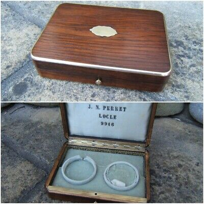 Terrific Rare 19C Swiss Antique Rosewood Pocket Watch  Box - Fab Interior