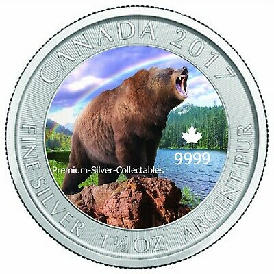 2017 Canada Grizzly Bear 1.50 Ounce Silver Colorized Series Collect The Series!!