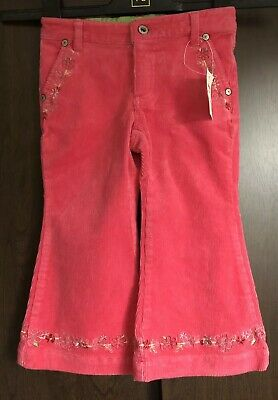 Pumpkin Patch Cerise Pink Cord Trousers With Embroidered Flower Detail Age 2-3
