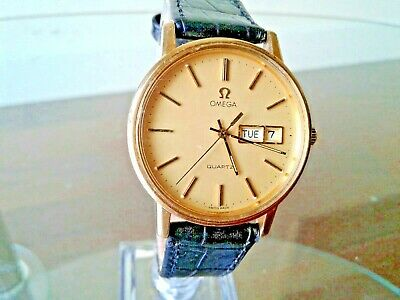 Nice.authentic.gorgeous Mens Omega 1345 Quartz Watch.day & Date.orig-Yellow Dial