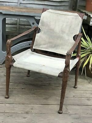 Antique Safari Colonial Style,Officers  Campaign Chair Real Leather Canvas