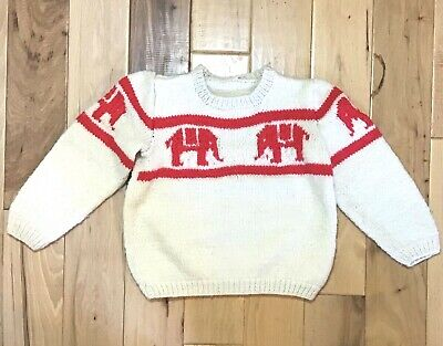 Vintage Youth Medium Hand Knit Sweater With Elephants