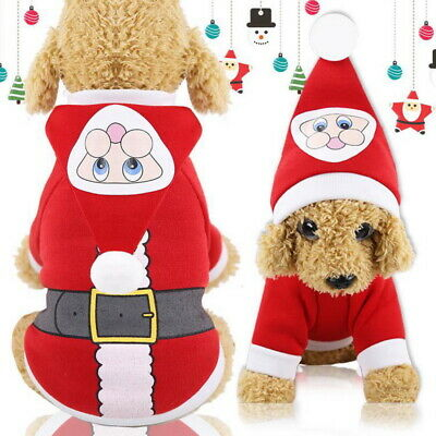 Cute Dog Pet Puppy Winter Clothes Santa Claus Pattern Christmas Sweater Hat Coat