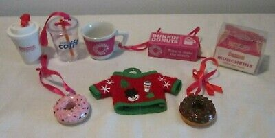 Eight Different Dunkin Donuts Christmas Ornaments - Cups, Ugly Sweater, Etc.