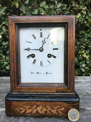 Antique Henry Marc Paris Inlaid Wood Carriage Clock with key c1850 Chimes