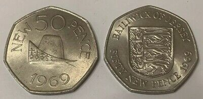 Guernsey And Bailiwick Of Jersey 1969 Fifty Pence 50p Coin Set UNC
