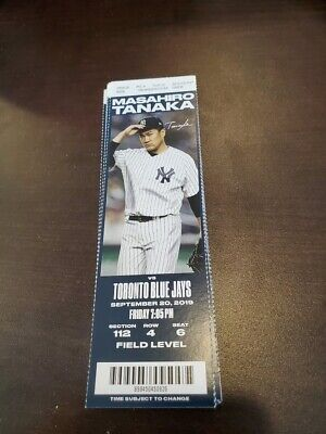 New York Yankees Toronto Blue Jays MINT Season Ticket 9/20/19 2019 MLB Stub