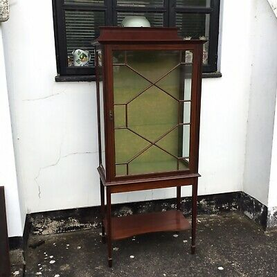 Antique Edwardian mahogany Inlaid glazed Cabinet Taxidermy Display Delivery Uk
