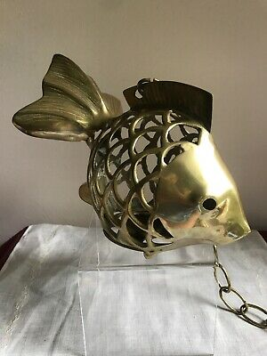 Fantastic Vintage Solid Brass Fish Lantern Candle Holder Coastal Nautical Decor