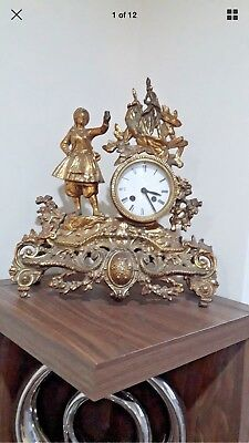 Antique French Brass  Figural Mantel Clock With Face Enamel Just Case