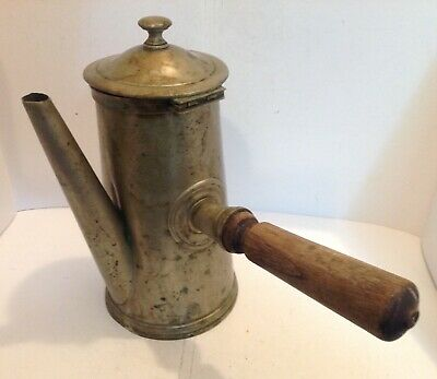 Antique French Base Metal Coffee Pot Marked Charlionais Pourailly