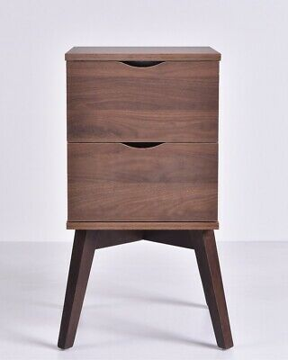 Hubie Bedside Table Lamp Bed Side Unit Nightstand? Timber? Legs Walnut 35X68Cm