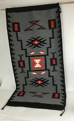 Vintage Native American Indian Navaho Rug Saddle Blanket 59 X27 Made In Mexico