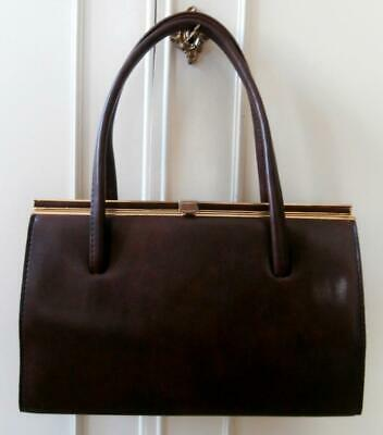 Vintage 1960's Dark Brown Leather-Look Vinyl Top Handle Kelly Handbag by Freedex