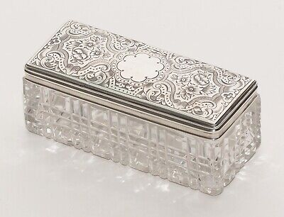 Antique Silver & Cut Glass Engraved Vanity/ Perfume Toiletry Jar Hallmarked 1875