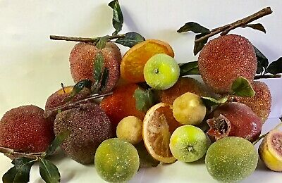 Lot Vintage Sugar Frosted Beaded Artificial Fruit Faux Food Decor Prop + Picks