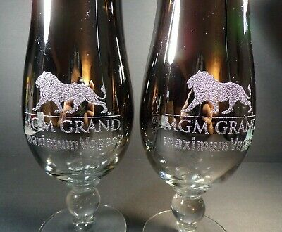 MGM Grand Hollywood Las Vegas Mirrored Faded Silver Goblet Cocktail Glass 2 pcs