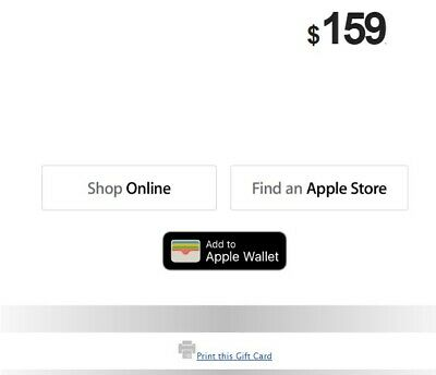 $159 Apple Retail Store Gift Card (Not for iTunes/App Store) - Email Delivery