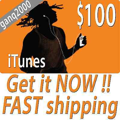 $100 APPLE US iTUNES CARD gift certificate FAST FREE worldwide shipping